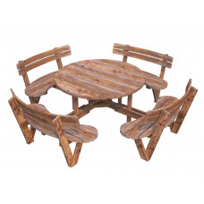 English round table with chair-backs
