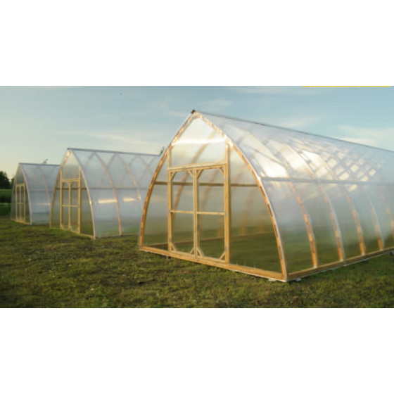 Wooden ark-formed greenhouse with polycarbonate 5.0x20.0m