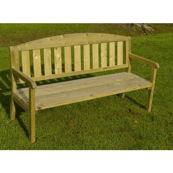 Wooden garden chair for three