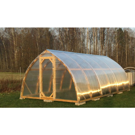 Wooden ark-formed greenhouse with polycarbonate  3.0x8.0m