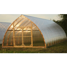 Wooden ark-formed greenhouse 5.0x15.0m