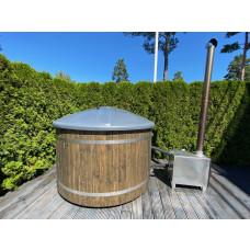 Новинка! Внешняя баня с обшивкой из стекловолокна, отделкой из ели и внешней топкой!